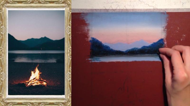 Пастель для начинающих. Урок 4: рисуем работу Костер у горного озера.
