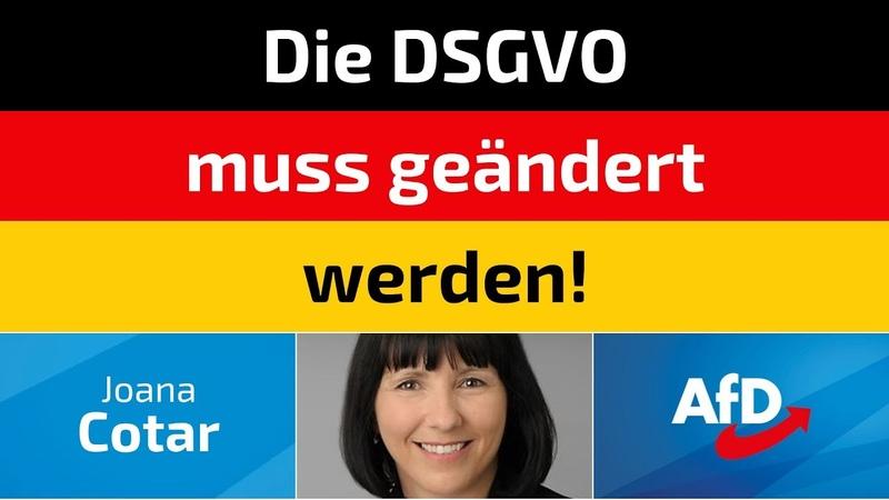 Joana Cotar AfD Die DSGVO muss geändert werden