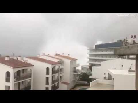 Huge waves crash into building in Mallorca as Storm Gloria rages