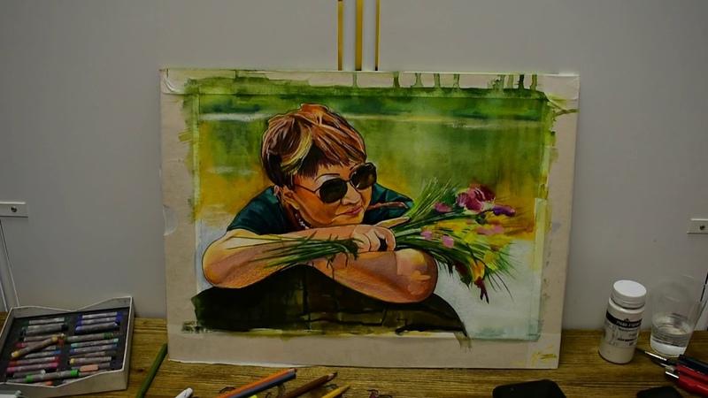 Watercolor portrait drawing