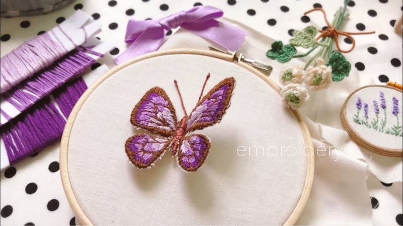刺繍☆立体な蝶*butterfly embroidery☆春*