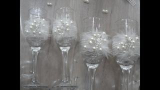 DIY Հարսանյաց բաժակի ձեվավորում/Украшение свадебных бокалов/ wedding glasses