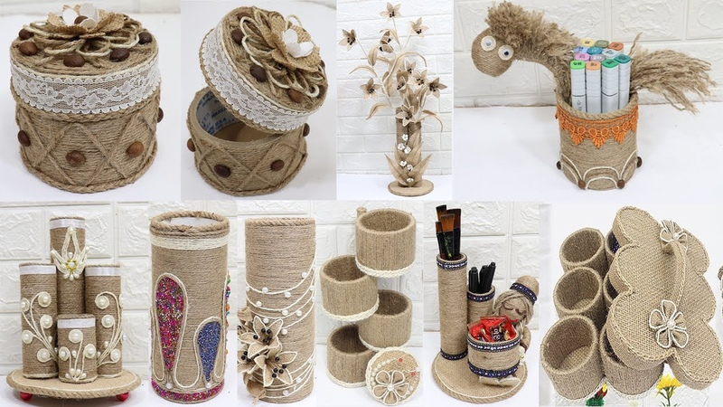 10 Craft ideas from jute and cardboard rolls | Home decor ideas