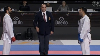 Karate Sajad Ganjzadeh (IRA) vs Uur Akta (TUR). Final Male Team Kumite WKF. World Karate Champions