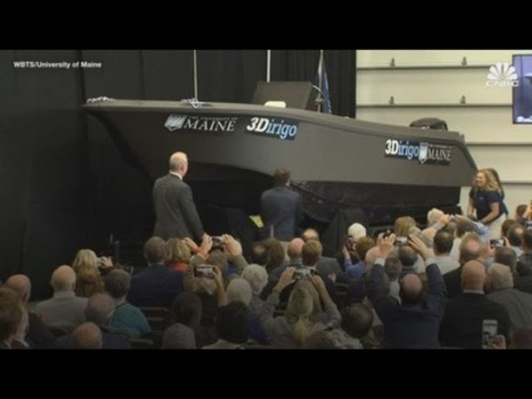The first 3D-printed boat, 'built' by the world's largest 3D printer