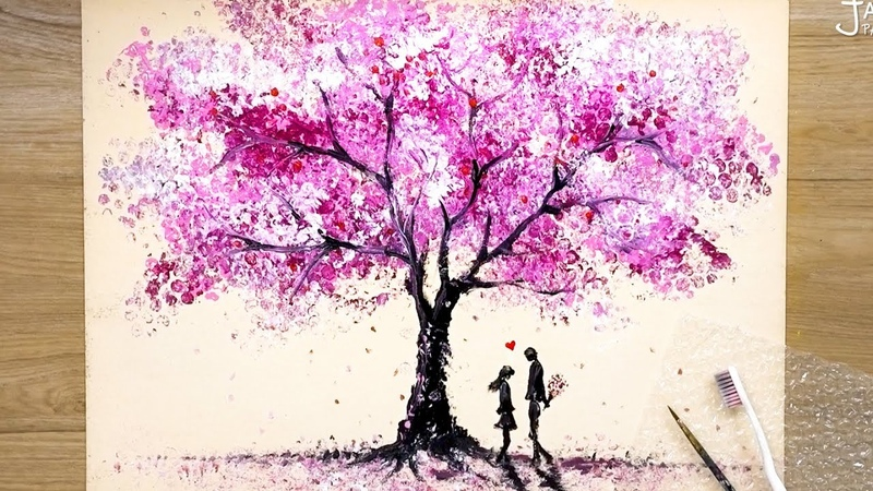 How to draw Romantic Couple beside a Cherry Tree Bubble Wrap Painting Techniques