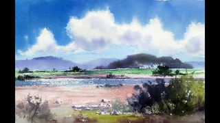 Basics of landscape painting풍경기본choeSSi art studio/ A shining sea수채화, 水彩画watercolor