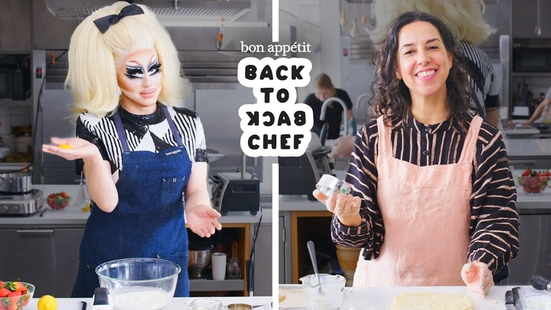 Trixie Mattel Tries to Keep Up with a Professional Chef Back to Back Chef Bon Appétit