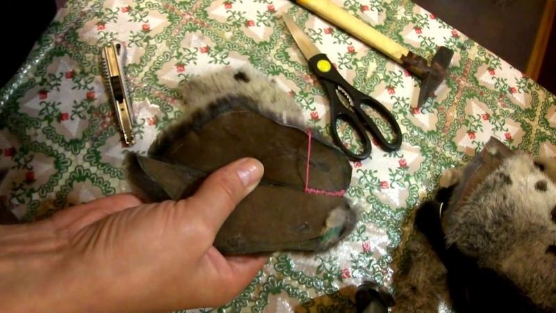 Рукавицы из норки . Урок 6 : Шов скорняжный.