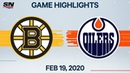NHL Highlights Bruins vs Oilers Feb 19 2020