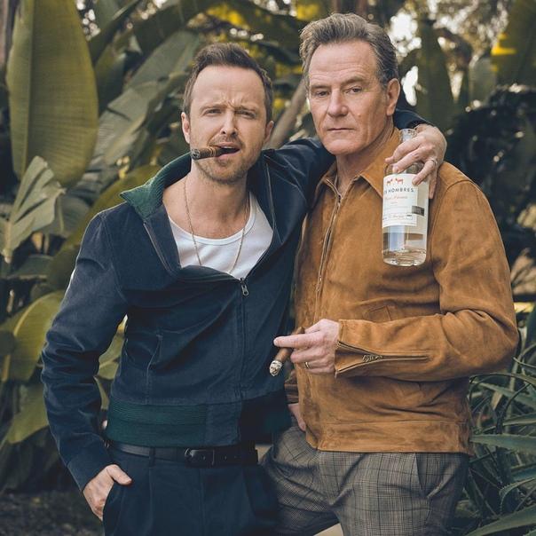 Аарон Пол и Брайан Крэнстон для Cigar & Spirits, 2020