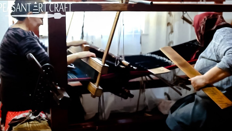 Loom WEAVING with Heddle Rods and Weaving Swords in Romanian Villages