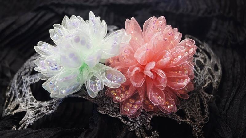Цветок «ХРУСТАЛЬНЫЙ» из органзы со стазами, КАНЗАШИ,/ DIY ORGANZA Kanzashi