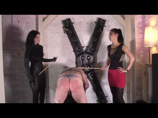 Mistress Blackdiamoond and Lady Chanel - Caning On His Naked Ass [SPITTING, FEMDOM, FEMALE DOMINATION, DOMINATION, HUMILIATION]