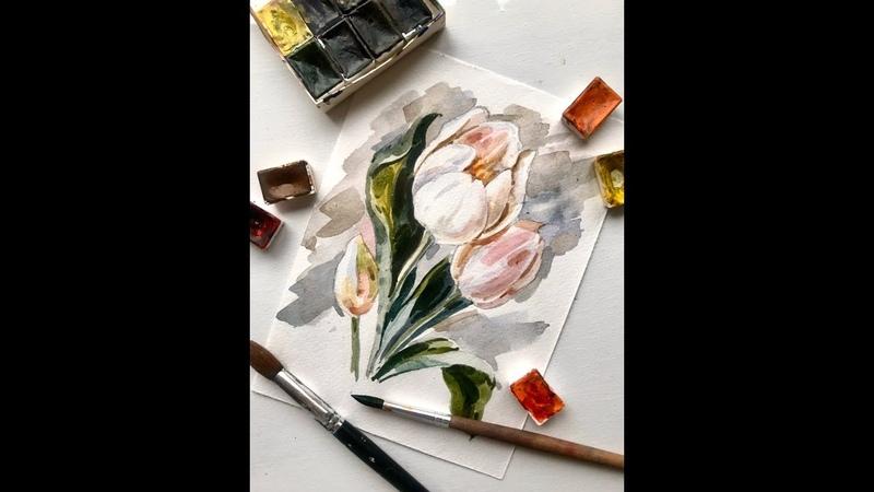 Мини урок Рисуем тюльпаны акварелью