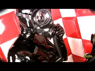 Latex gas mask girl and boy
