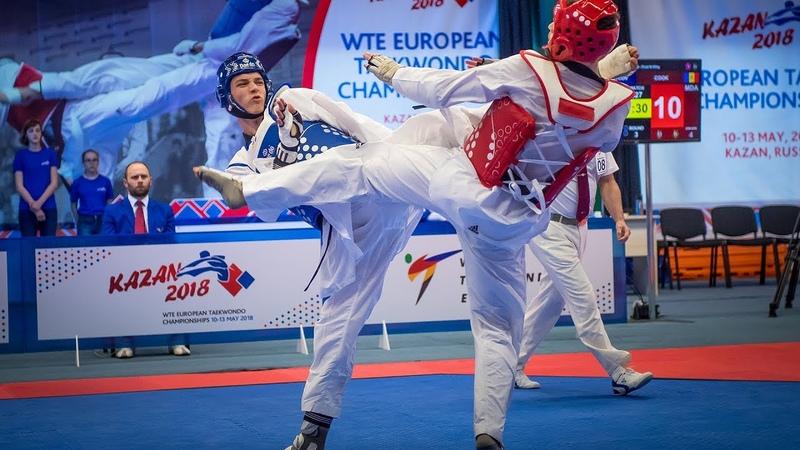 Maksim Khramtcov RUS vs Aaron Cook MDA European Taekwondo Championships Kazan 2018