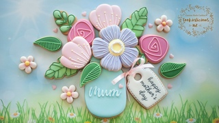 How to create MOTHER'S DAY Flower Bouquet Cookies ~ Edible Gift for Mum