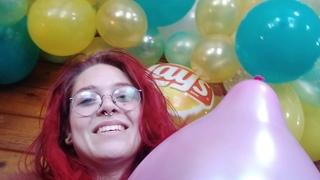 Balloon Inflation Without Popping Semi-Popper Looner Redhead Blows Balloons No Pop ASMR Static