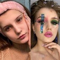 До макияжа и после