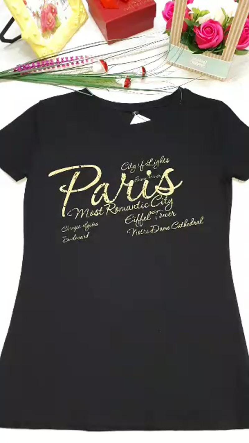 футболка женская черная