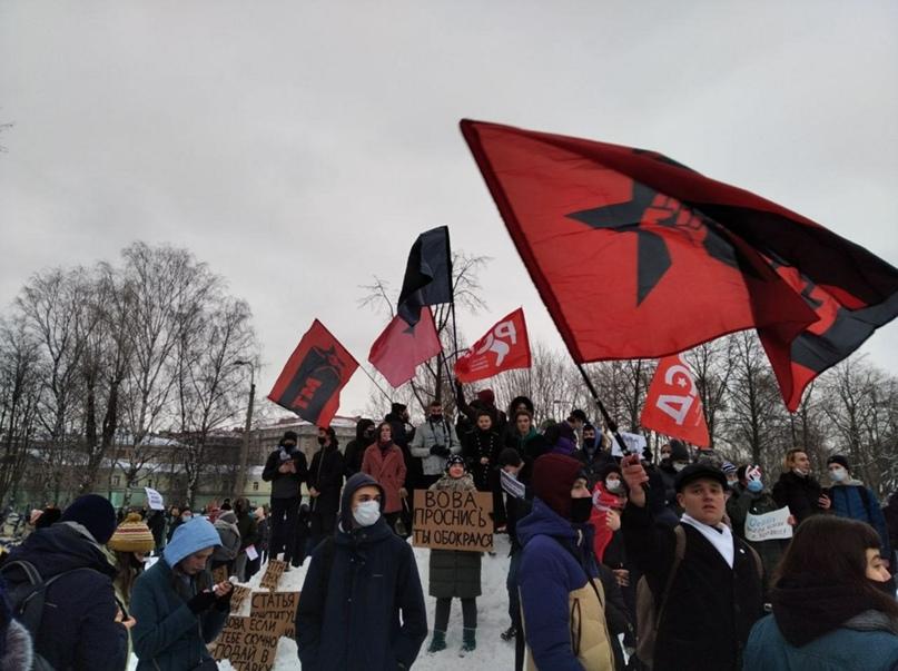 Фото: Левые активисты на протестах 23 и 31 января. Москва, Питер, Кострома, Воронеж