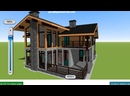 3D-план комбинированного дома в стиле шале из камня и дерева