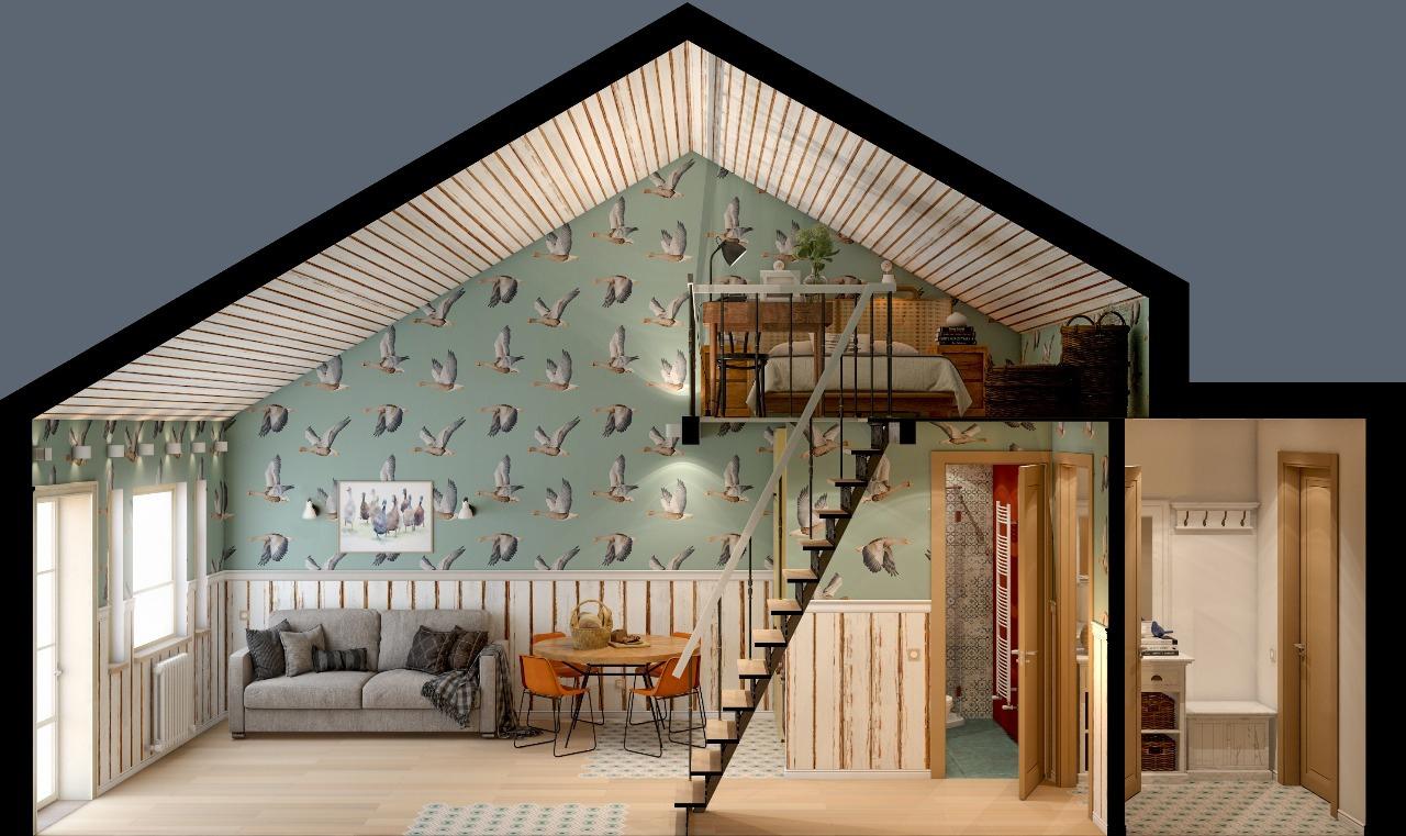 Проект маленького домика с открытым пространством 33 кв.