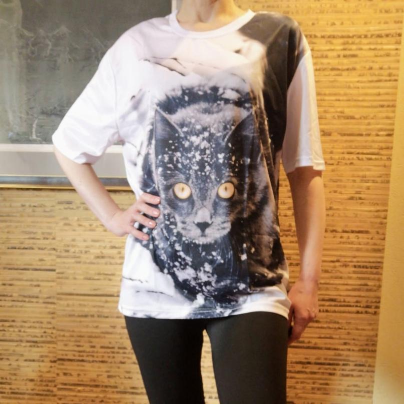 Очаровательная футболка с котом. ( 23 варианта)