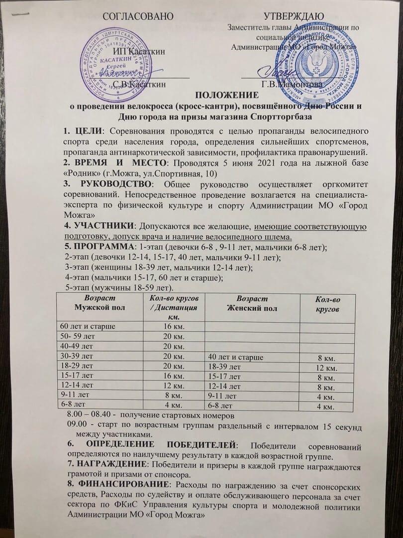 Велокросс посвященный Дню России и Дню города