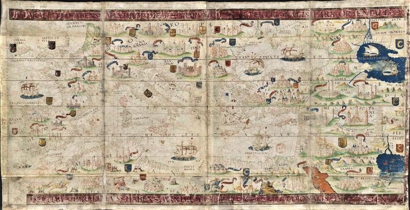 Средиземноморье. Карта из Атласа Миллера (1519)
