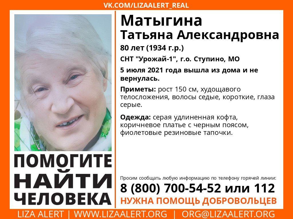Внимание! Помогите найти человека! Пропал #Матыгина (Минкина) Татьяна Александровна, 80 лет, СНТ «Урожай-1», г