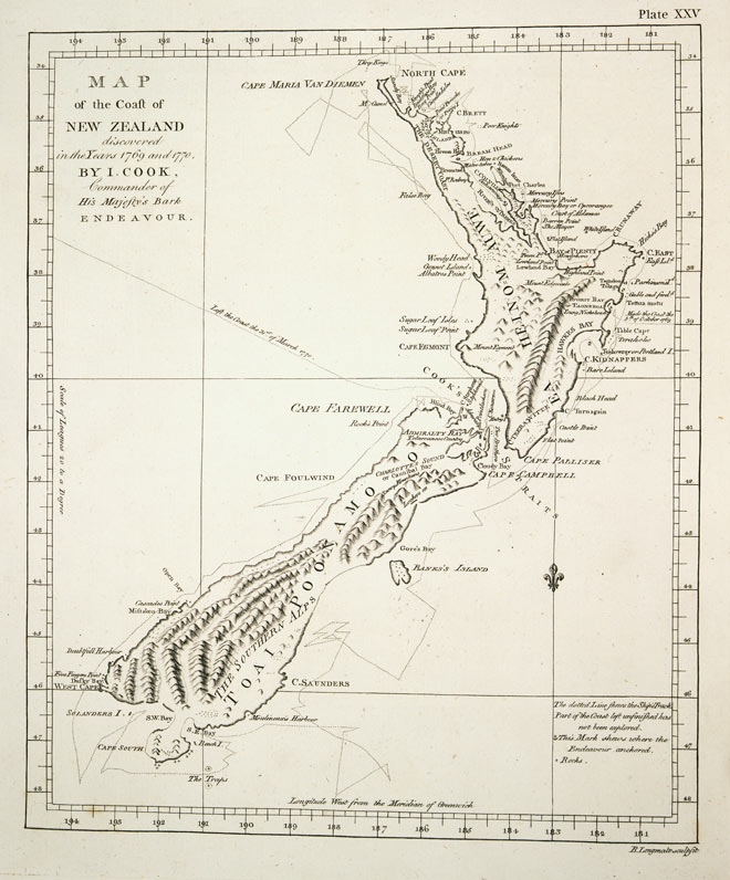 Первая карта Новой Зеландии. Выполнена Джеймсом Куком в 1770 году.