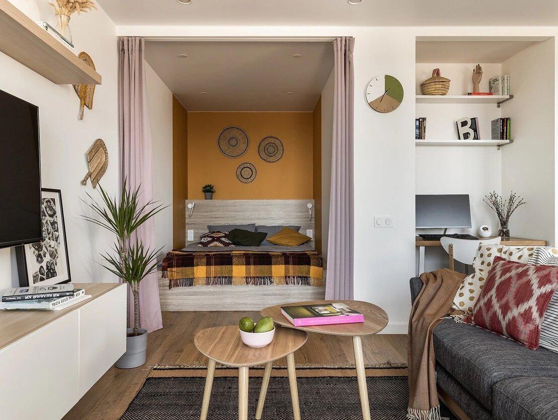 Интерьер квартиры-студии 40 кв.