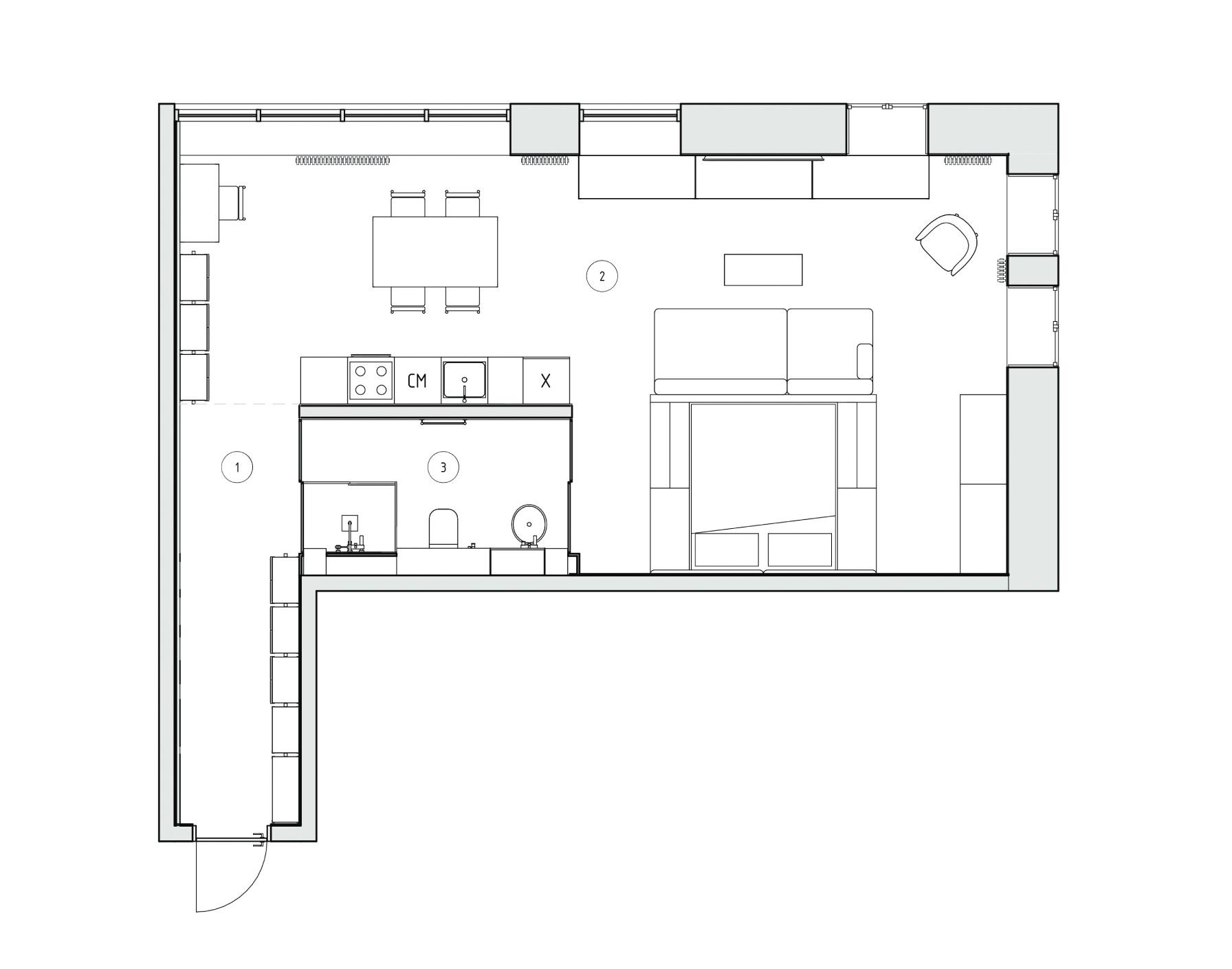 Дизайн студии в стиле лофт площадью 60 кв.