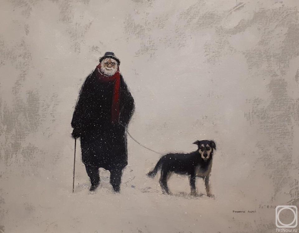 Седой старик, лет семидесяти, ходил около вольеров