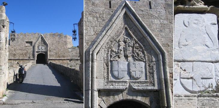 Внешние ворота Святого Иоанна; герб Великого Магистра Обюссона и барельеф с изображением Святого Иоанна (внутренние ворота)