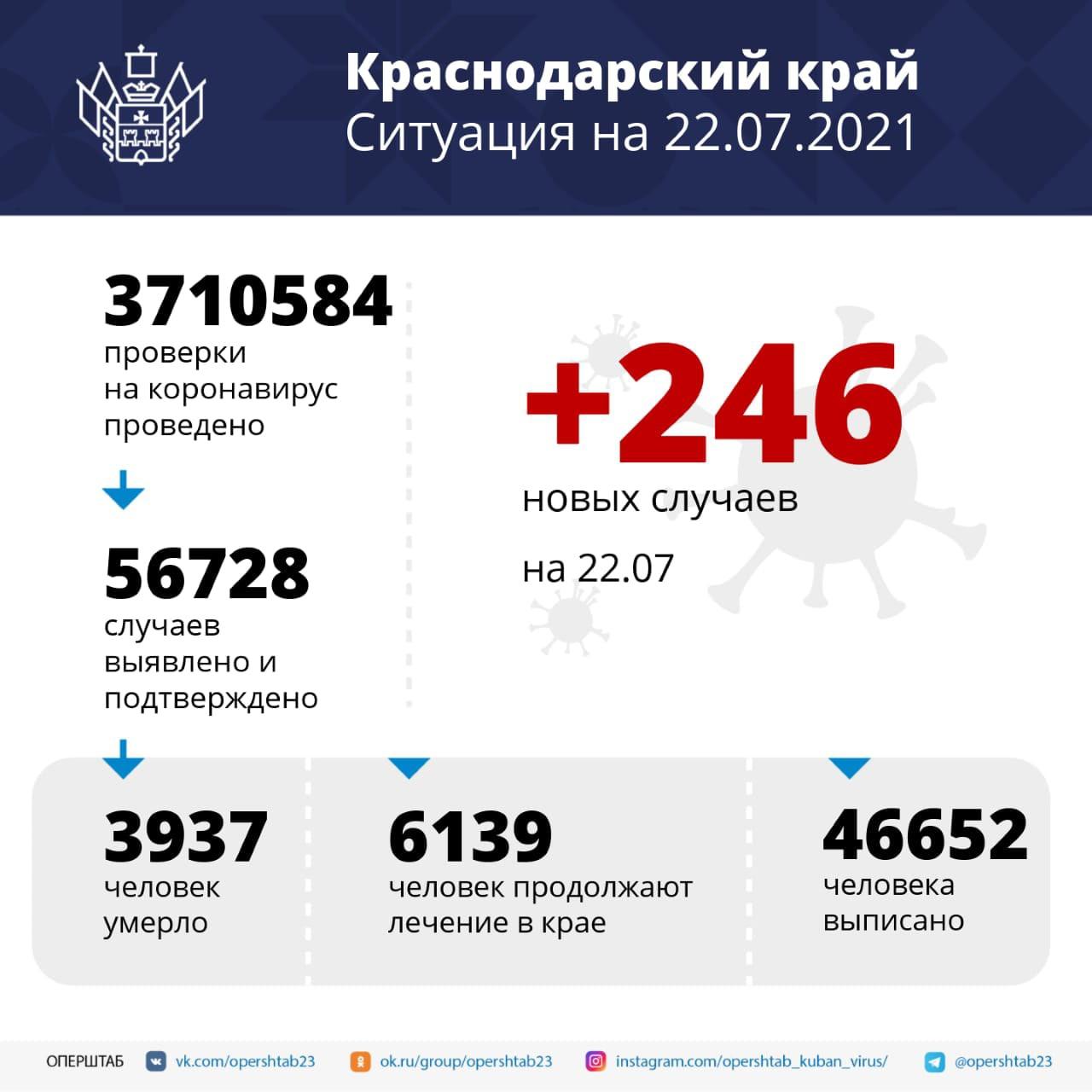 В Краснодарском крае за сутки выявили 246 случаев...
