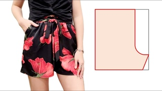 Very easy DIY shorts with side pockets | Belted shorts cutting and sewing | Summer shorts tutorial