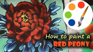 How to paint a RED PEONY by a flat brush, Onestroke, Tutorial