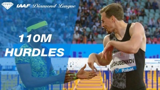 Sergey Shubenkov supermans to the finish line after a crash in Rabat - IAAF Diamond League 2019