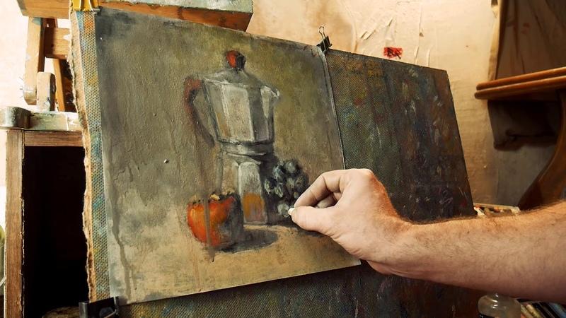 Быстрый этюд натюрморта с использованием растворяющего состава
