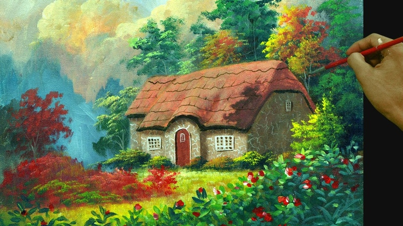 How to Paint Colorful House in the Garden with Flowers in Acrylic