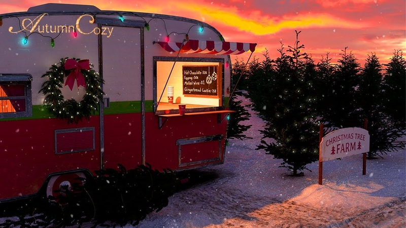 🎄CHRISTMAS TREE FARM AMBIENCE Falling Snow Sounds Sleigh Bells Tree Sawing