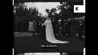 1930s Wedding, Bride and Groom, Marquee Celebration, Home Movies,16mm