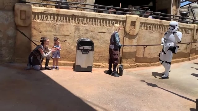 Galaxy's Edge Rey and Chewbacca Hide from Stormtroopers