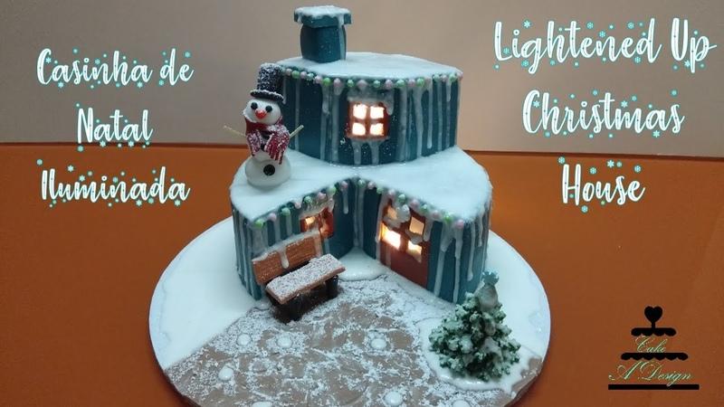 Bolo Casinha de Natal Iluminada Lightened Up Christmas House Cake ENGLISH SUBTITLES