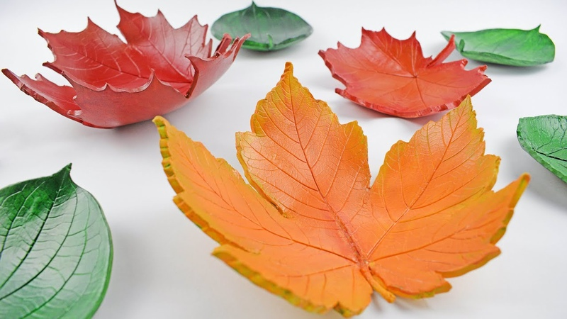 DIY Autumn Leaf Bowls - Easy Home Decorations Tutorial - Air Drying Clay Decor Craft