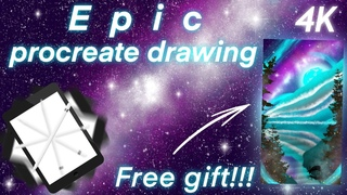 Epic procreate drawing. Ipad and apple pencil spinning. Free gift. Procreate speed art tutorial. 0+