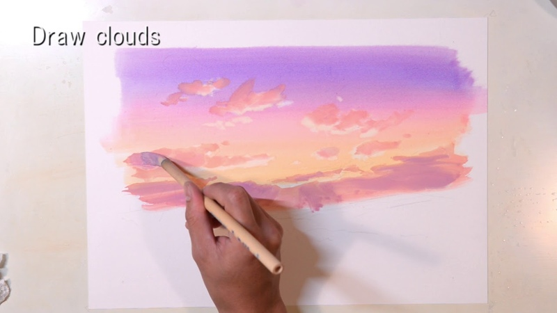 How to painting an animation background 【Evening sky】